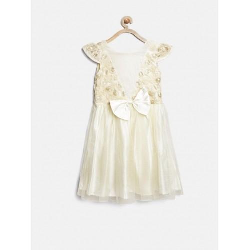 Gini & Jony Girls Cream Fit & Flare Dress