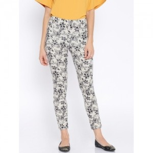 AND by Anita Dongre Off-White & Black Printed Jeggings