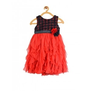Toy Balloon kids Girls Red & Black Fit & Flare Dress