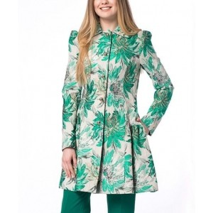Green Floral Pleated Raincoat