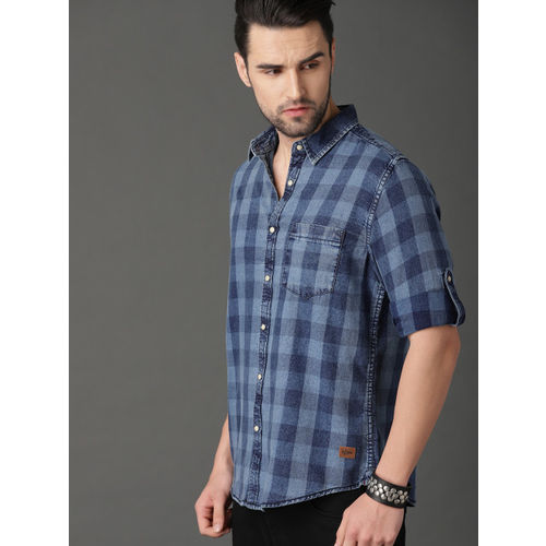 Roadster Men Regular Fit Washed Indigo Check Shirt