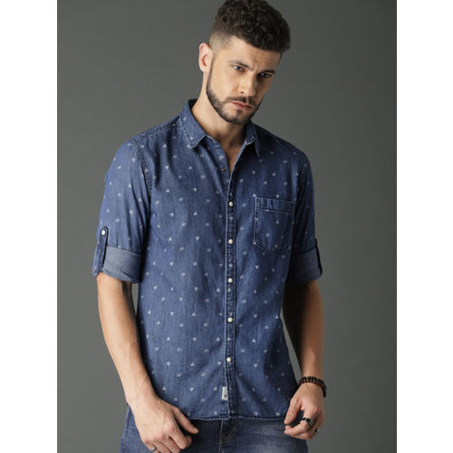 Roadster Men Blue Regular Fit Printed Denim Casual Shirt