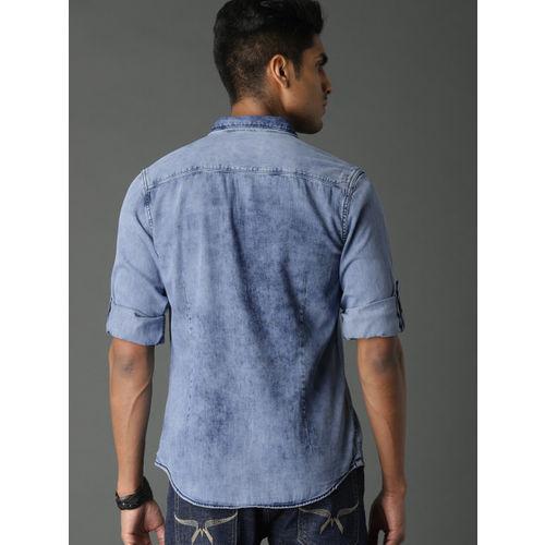 Roadster Men Blue Regular Fit Ice Wash Denim Shirt