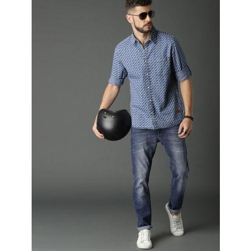 Roadster Men Blue Regular Fit Printed Denim Casual Shirt