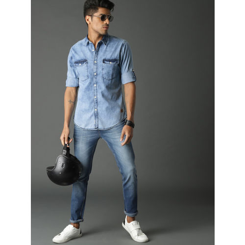 Roadster Men Blue Regular Fit Faded Casual Denim Shirt