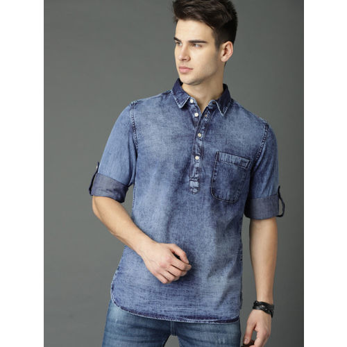 Roadster Men Blue Faded Denim Shirt