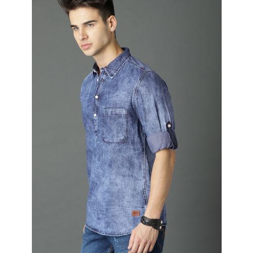 Roadster Men CloudWash Midblue Denim Shirt
