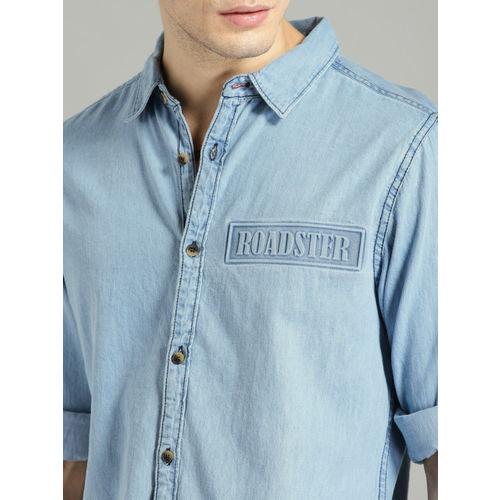 Roadster Men Blue Slim Fit Faded Casual Shirt