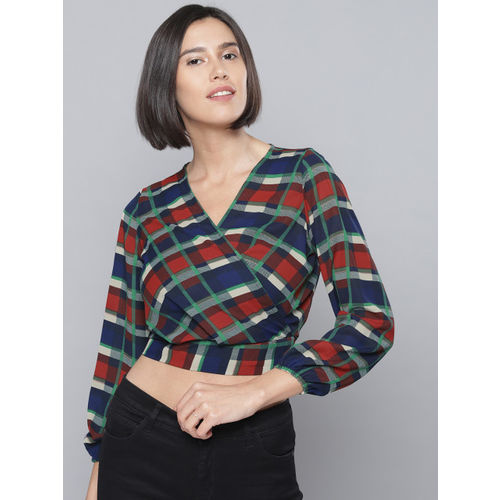 Tokyo Talkies Women Red Checked Cropped Wrap Top