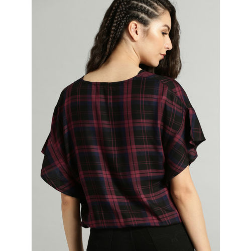 Roadster Women Maroon Checked Blouson Top