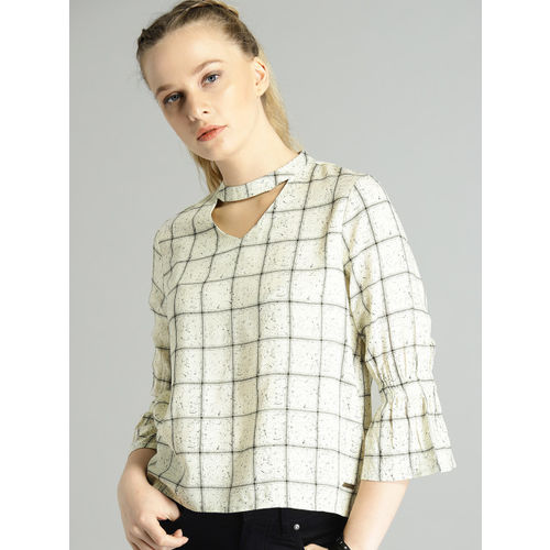 Roadster Women Off-White Checked Top