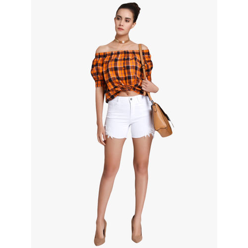 Vero Moda Women Orange Checked Bardot Top