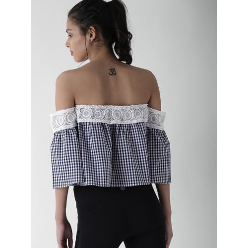 FOREVER 21 Women Navy Blue Checked Crop Tube Top