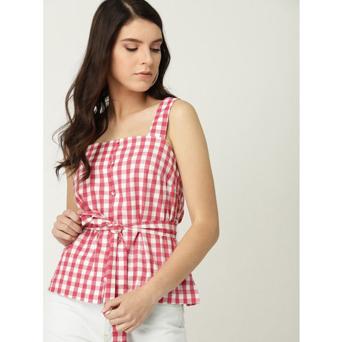 MANGO Women Pink & White Checked Top