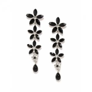 Zaveri Pearls Black Silver-Plated Flower Shaped Drop Earrings