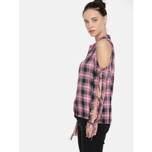 Roadster Women Pink Checked Shirt Style Top