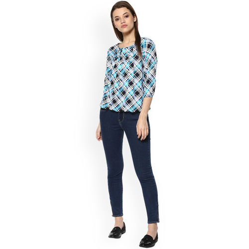 Mayra Women Turquoise Blue Checked Blouson Top