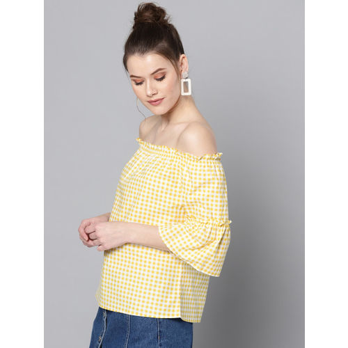 Marie Claire Women Yellow & White Checked Bardot Top