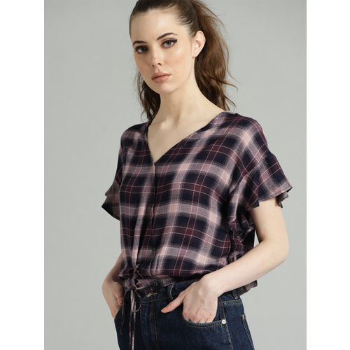 Roadster Women Pink & Navy Checked Blouson Top
