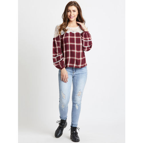 COVER STORY Women Maroon Checked Top