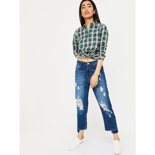 Ginger by Lifestyle Women Green Checked Shirt Style Top