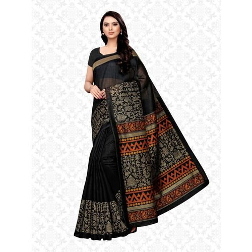 Divastri Geometric Print, Paisley, Printed Kalamkari Art Silk, Poly Silk, Polycotton, Cotton Silk Saree(Black, Beige)