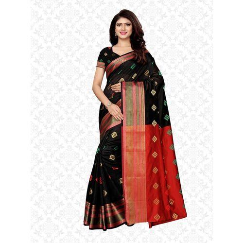 Divastri Self Design Kanjivaram Poly Silk, Silk Blend, Art Silk, Jacquard Saree(Black)