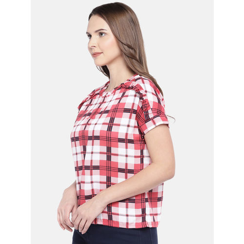 Globus Women Red Checked Top