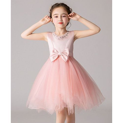 Pre Order - Awabox Bow Knot Sleeveless Tulle Flare Dress With Pearl Detailing Neckline - Light Pink
