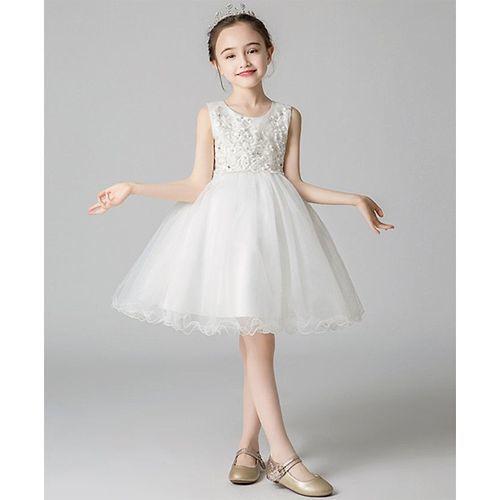 Pre Order - Awabox Flower Embroidered Sleeveless Tulle Flare Dress - White