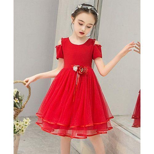 Pre Order - Awabox Half Sleeves Flower Applique Solid Cold Shoulder Dress With Pearl Detailing - Red
