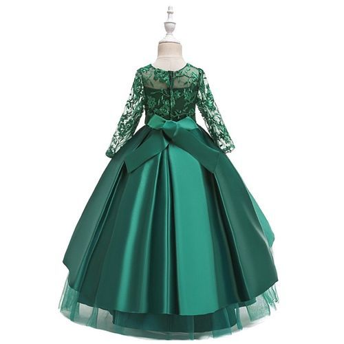 Pre Order - Awabox Full Sleeves Floral Embroidered Studded Gown - Dark Green
