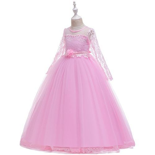 Pre Order - Awabox Full Sleeves Floral Lace Work Gown - Pink