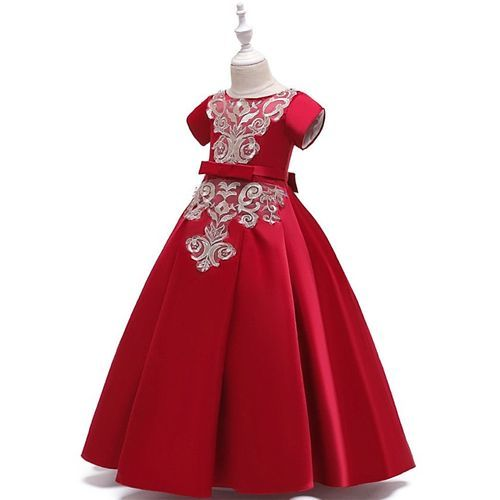 Pre Order - Awabox Cap Sleeves Embroidered Gown - Red