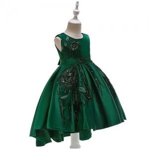 Pre Order - Awabox Sleeveless Sequinned Flower Decorated Dress - Dark Green