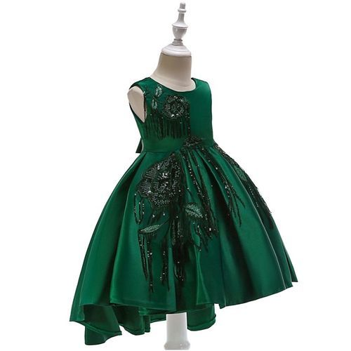 Pre Order - Awabox Sleeveless Sequinned Flower Decorated Dress - Dark Green