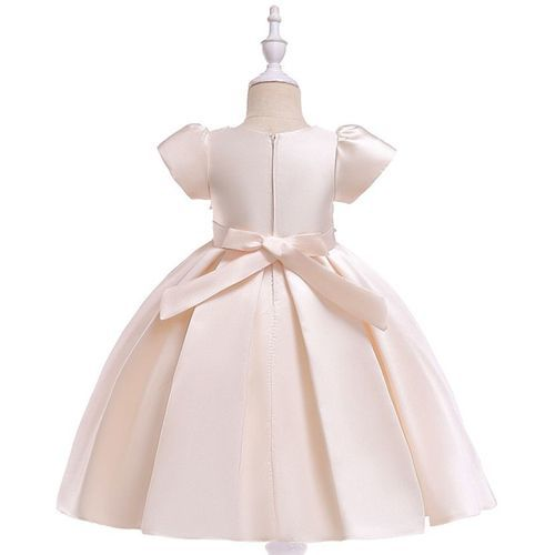 Pre Order - Awabox Cap Sleeves Floral Embroidered Pearl Detailed Ball Gown Flare Dress - Beige