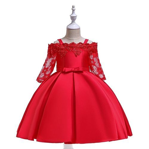 Pre Order - Awabox Three Fourth Lace Sleeves Scallop Trim Neckline Floral Embroidered Dress - Red