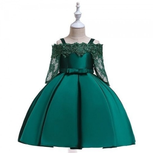 Pre Order - Awabox Three Fourth Lace Sleeves Scallop Trim Neckline Floral Embroidered Dress - Dark Green