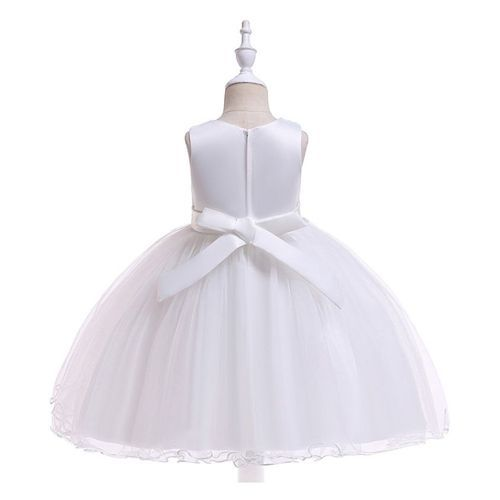 Pre Order - Awabox Sleeveless Embroidered Flower Decorated Lettuce Trim Dress - White