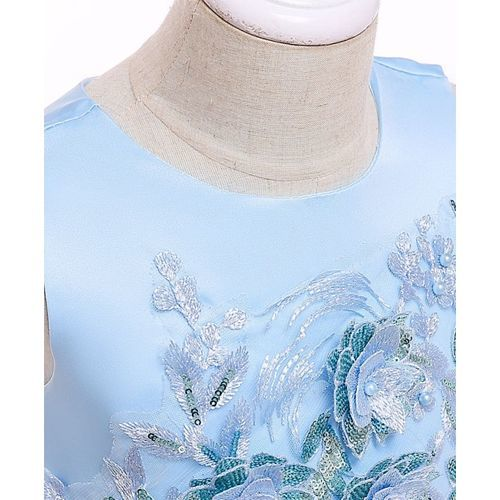 Pre Order - Awabox Sleeveless Embroidered Flower Decorated Lettuce Trim Dress - Blue