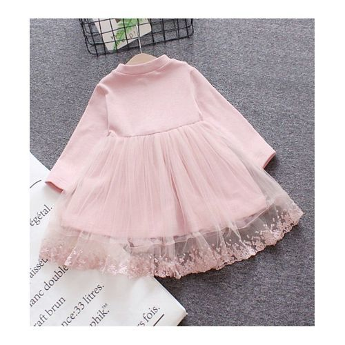 Pre Order - Awabox Full Sleeves Lace Detailing Flare Dress - Pink