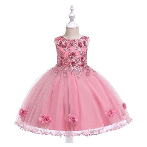 Pre Order - Awabox Sleeveless Flower Decorated Ball Gown Flare Dress - Pink