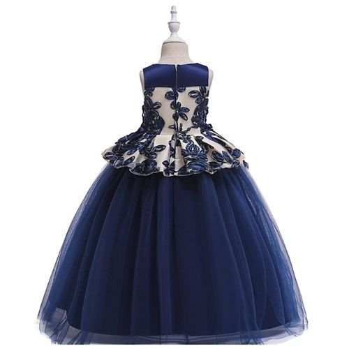 Pre Order - Awabox Sleeveless Floral Embroidered Peplum Style Gown - Blue