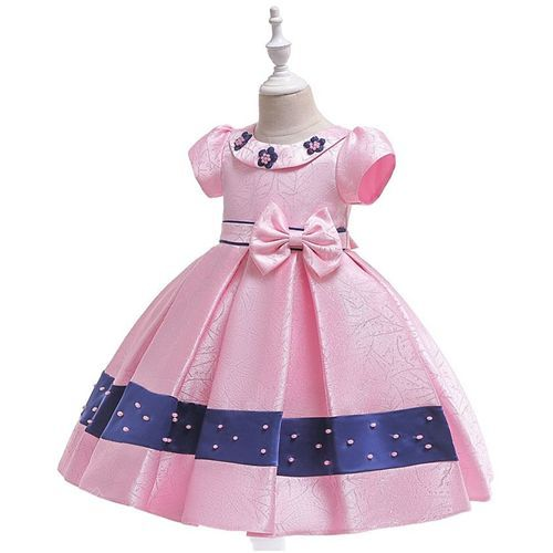 Pre Order - Awabox Cap Sleeves Pearl Detailed Ball Gown Flare Dress - Pink