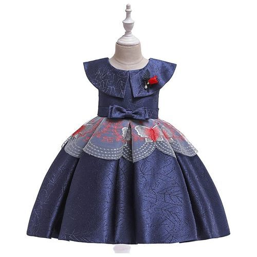 Pre Order - Awabox Cap Sleeves Self Design Butterfly Embroidered Dress - Blue