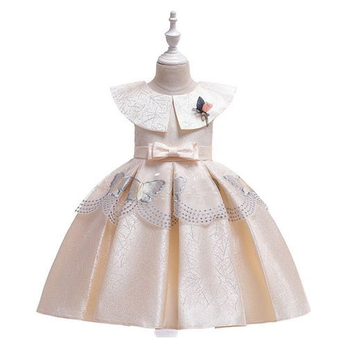 Pre Order - Awabox Cap Sleeves Self Design Butterfly Embroidered Dress - Cream