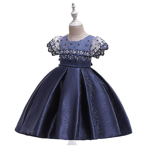 Pre Order - Awabox Short Sleeves Floral Embroidered Ball Gown Flare Dress - Blue