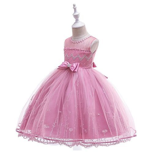 Pre Order - Awabox Sleeveless Embroidered Studded Bow Decorated Gown - Pink