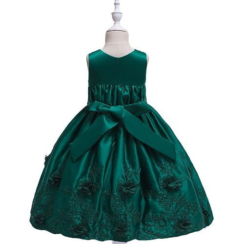Pre Order - Awabox Sleeveless Floral Embroidered Ball Gown Flare Dress - Green